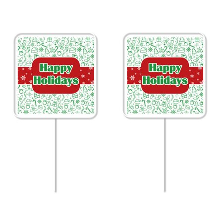 Happy Holidays Red & Green Cupcake Picks – 12 Pack