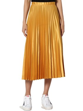 TheMogan Junior's Pleated Tech Satin High Waist Slim A-Line Below Knee Midi Skirt