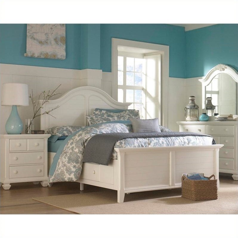 Broyhill Mirren Harbor Panel Storage Bed 4 Piece Bedroom Set in White