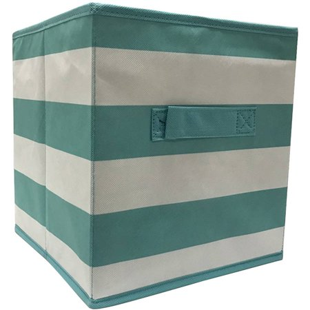 mainstays collapsible fabric storage cube teal stripe pattern set of 2. Black Bedroom Furniture Sets. Home Design Ideas