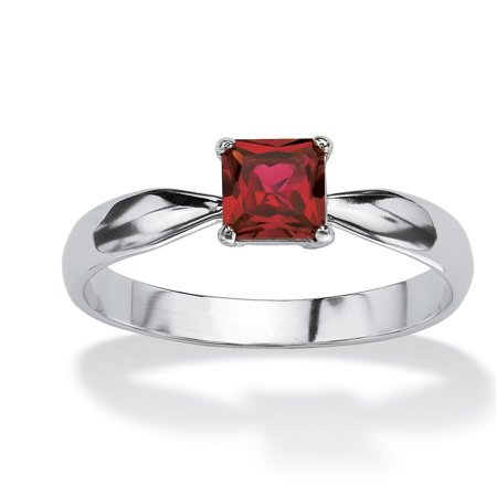 Princess-Cut Birthstone Solitaire or Stack Ring in Sterling Silver - July- Simulated Ruby