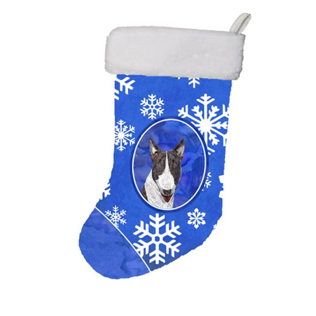 Carolines Treasures SC9603-CS 11 x 8 In. Bull Terrier Winter Snowflakes Christmas Stocking - image 1 de 1