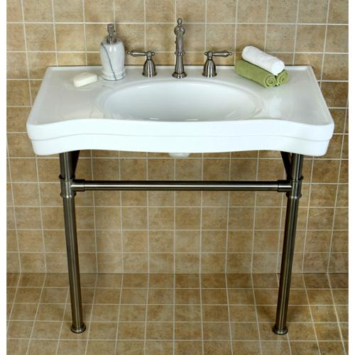 Kingston Brass Imperial Vintage 36 Inch Satin Nickel Pedestal Center Bathroom  Sink Vanity   Walmart.com