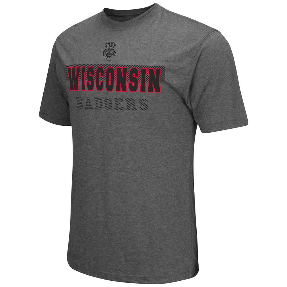 Mens NCAA Wisconsin Badgers Short Sleeve Tee Shirt (Heather Charcoal)