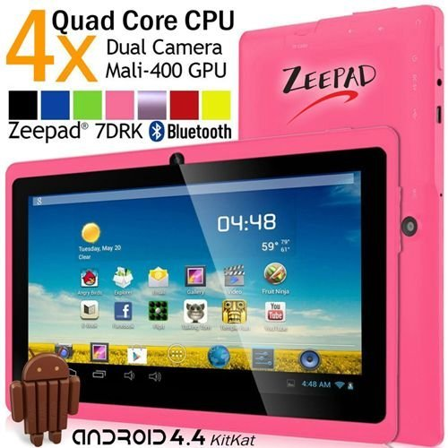 New 7inch Zeepad 7DRK-Q Android 4.4 KitKat Quad Core Capacitive touch Screen Dual Camera Bluetooth Tablet PC -Pink