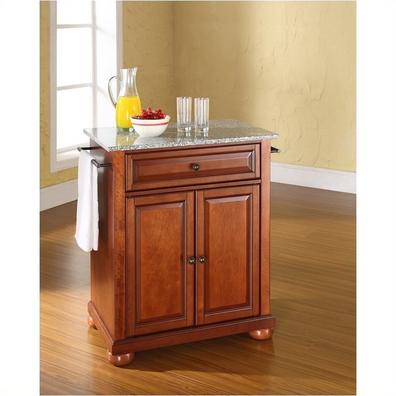 Pemberly Row Solid Granite Top Cherry Kitchen Island