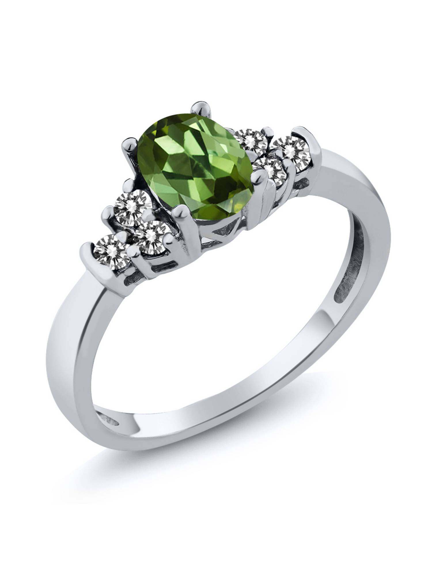 0.60 Ct Oval Green Tourmaline White Diamond 925 Sterling Silver Ring by
