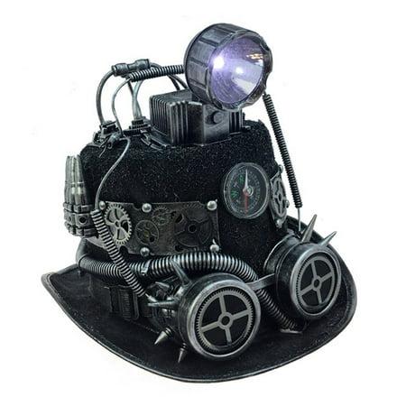 Attitude Studio Steampunk Light Up Fedora Hat with Mechanical Gears  - (Steampunk Studio)