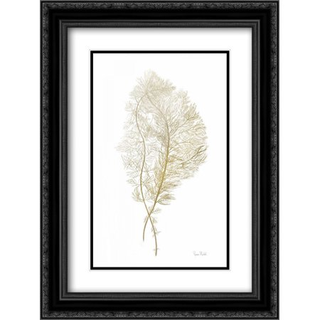 Fern Algae Gold on White 2x Matted 18x24 Black Ornate Framed Art Print by Murdock, - Black Agate Disc