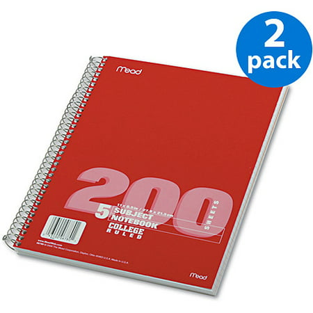 (2 Pack) Mead 5 - Subject College Ruled Wirebound Notebook - -