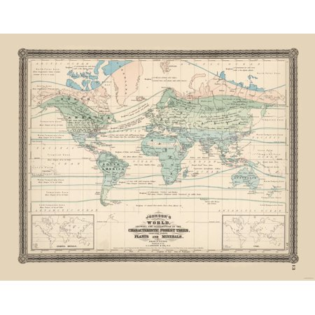 Minerals World Map - Johnson 1870 - 29.29 x 23 (Johnson 1870 Antique Map)