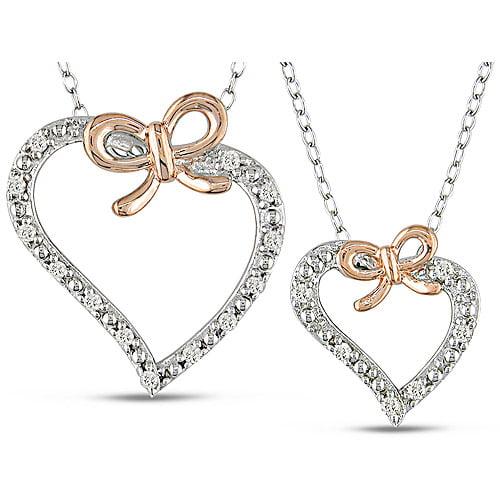 "1/5 Carat T.W. Diamond Silver Heart Pendant, 18"""