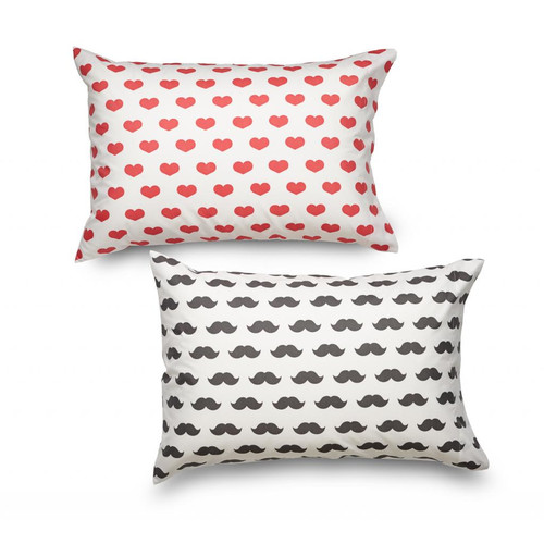 Where the Polka Dots Roam Queen Heart and Mustache Ultra Microfiber Pillowcase (Set of 2)