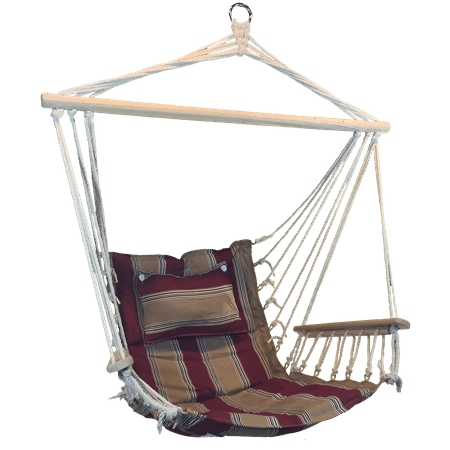 Superb Red And Tan Striped Hanging Hammock Swing Chair With Pillow Headrest And Arms Bralicious Painted Fabric Chair Ideas Braliciousco