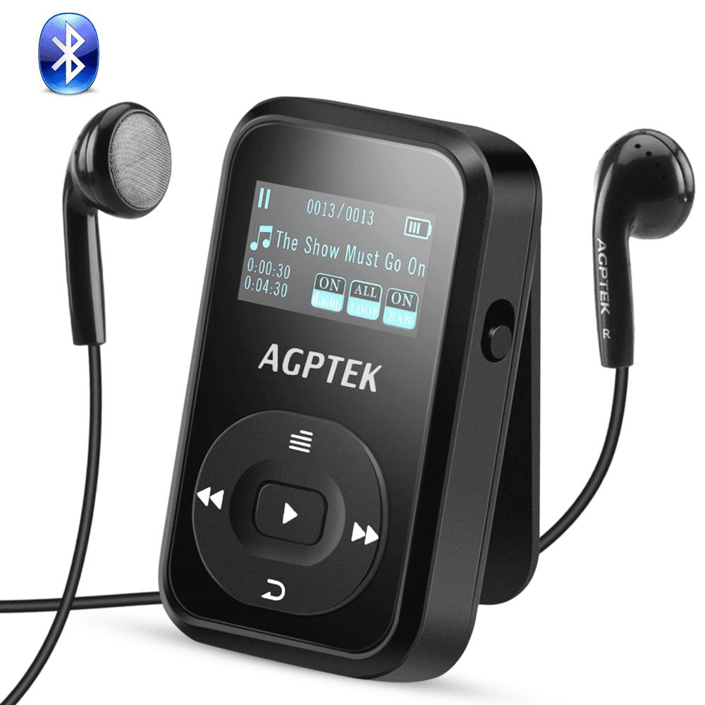 AGPTEK A26 8GB Bluetooth 4.0 MP3 Player,FM Radio Music Player with Sports Clip Hi-Fi Sound(up to 64GB),Black