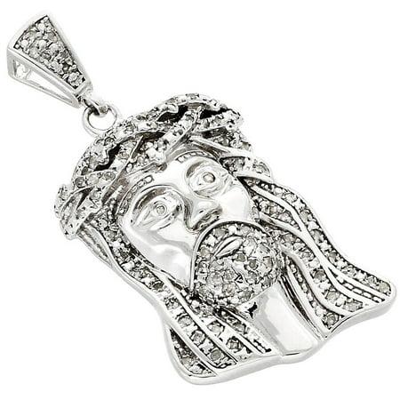 .925 Sterling Silver Diamond Micro Mini Jesus Face Piece Pendant Charm 0.50 CT