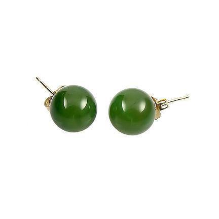 Nephrite Jade - Trustmark 14/20 Gold Filled 6mm Natural Nephrite Green Jade Ball Stud Earrings