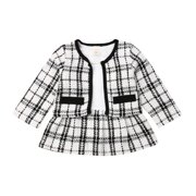 2019 Baby Birthday Kids Girl Clothes Plaid Coat Tops Dress Party Warm Novelty Outfit Set Clothing 2Pcs