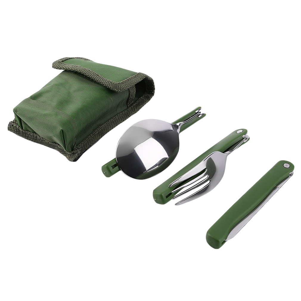Portable Practical Folding Camping Tool Outdoor Tableware Folding Fork Spoon Knife Picnic Dinnerware Camping Set