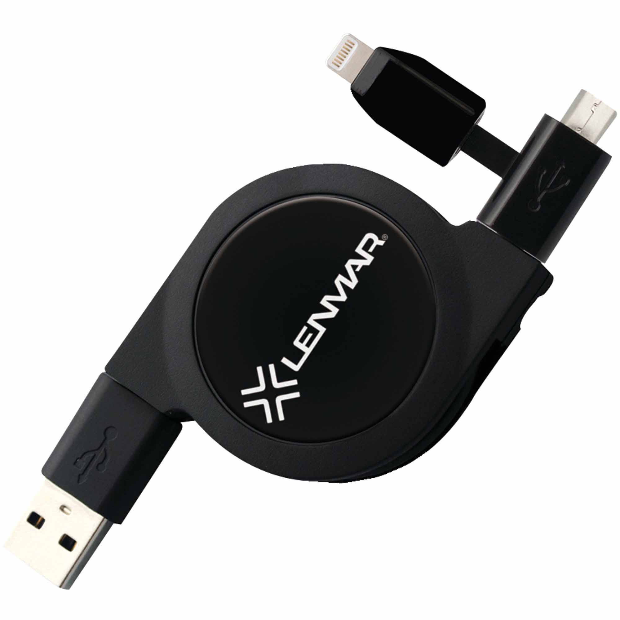 Lenmar CARTLMK 2-in-1 Retractable USB to microUSB/Lightning Cable, Black