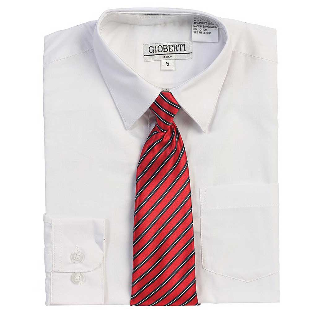 White Button Up Dress Shirt Red Striped Tie Set Boys 5-18