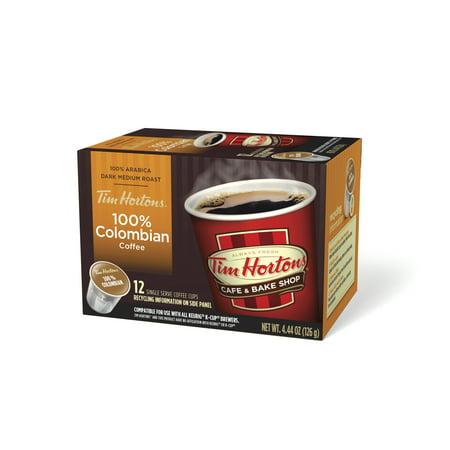 Tim Hortons Ground Colombian Roast Coffee Single Serve Cups, 12