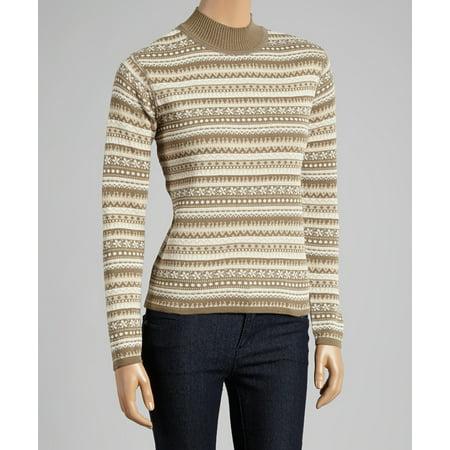 Snowflake Jacquard Stripe Ski Inspired Mock Neck Sweater (Style# 6147)