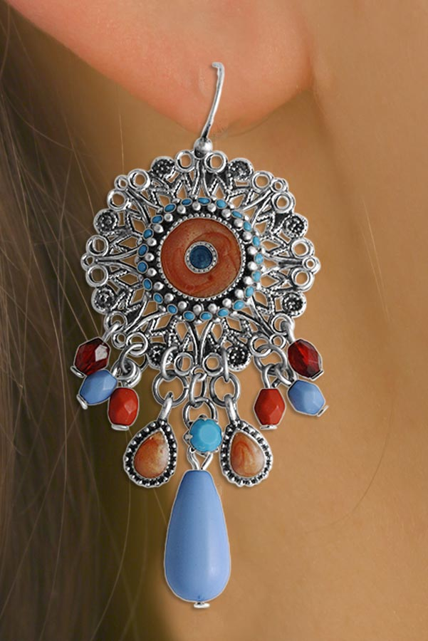 "Beautiful ""Dreamcatcher"" Coral & Turquoise Color Beaded Necklace & Earring Set by"