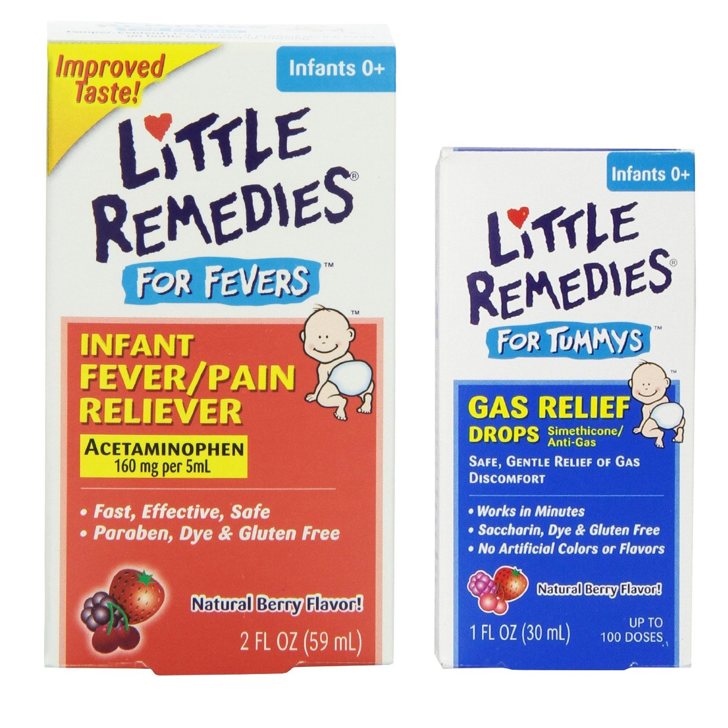 Little Remedies Fever Pain Reliever with Tummy Gas Relief Drops