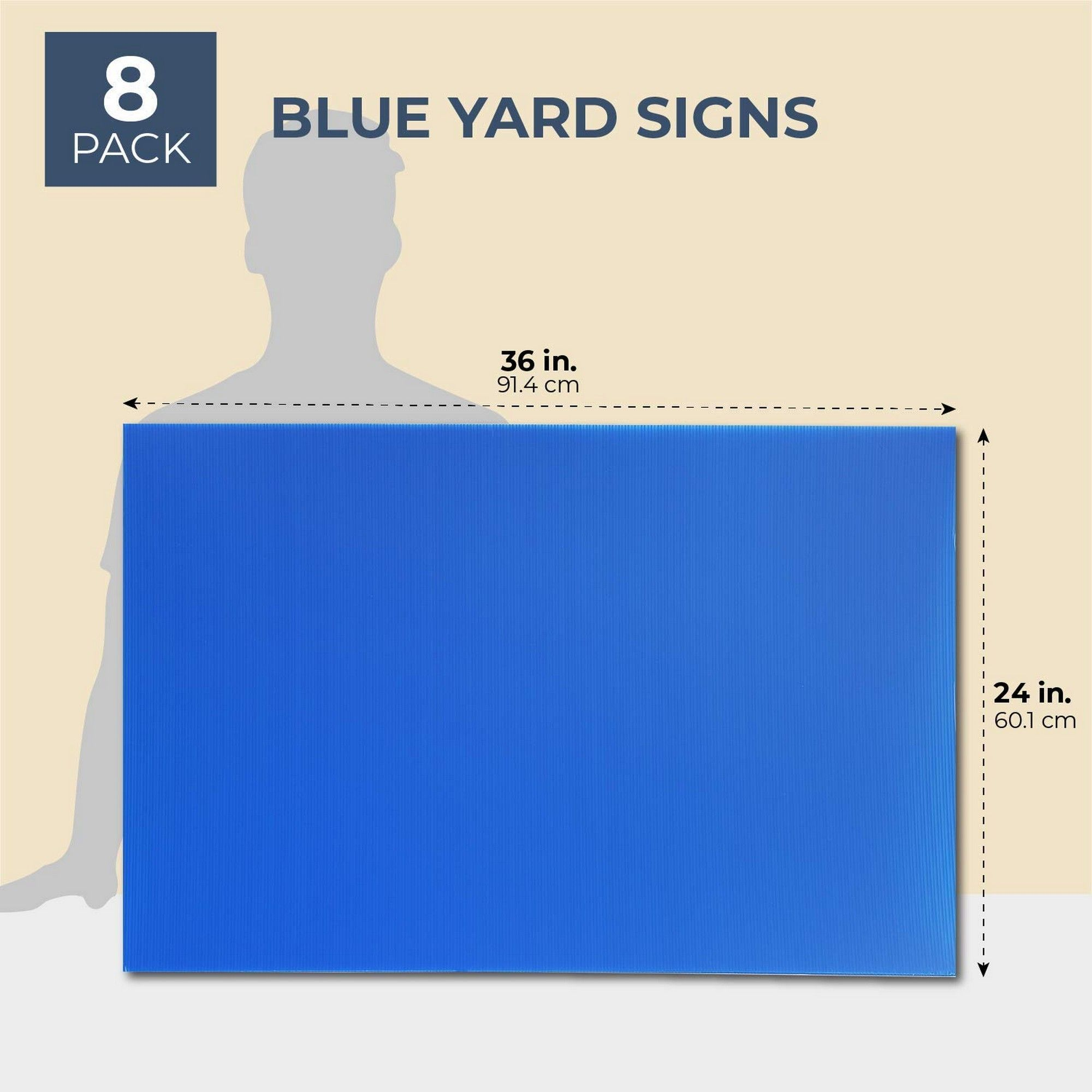 8 Pack Blue Corrugated Plastic Yard Lawn Signs Sheets ...