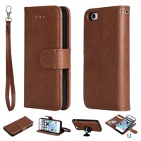 iPhone 5 5S Case Wallet, iPhone SE Case, Allytech Premium Leather Flip Case Cover & Card Slots Pocket, Support Wireless Charging Detachable Slim Case for Apple iPhone 5 5S SE (Brown)