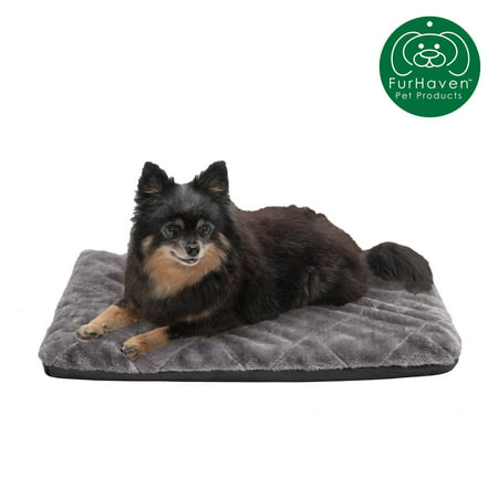 FurHaven Pet Kennel Pad | Orthopedic Faux Fur Pet Mattress for Crates & Kennels, Silver, Small