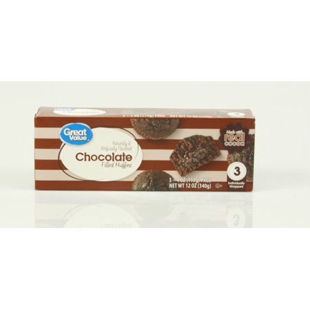 Great Value Chocolate Filled Muffins, 4 oz, 3 count