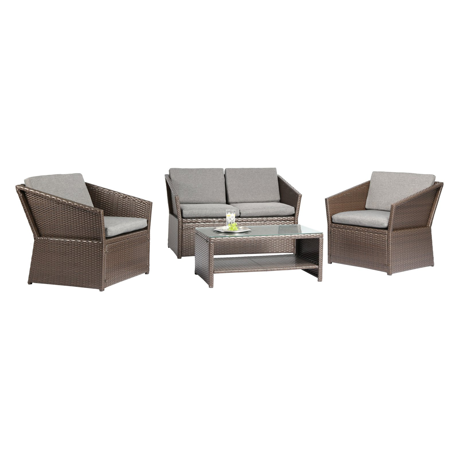 Baner Garden Outdoor Furniture Complete Patio Cushion PE Wicker Rattan Garden Set, Brown,... by