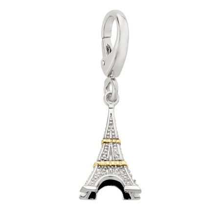 Eiffel Tower Charm with Diamonds in Sterling Silver & 14kt