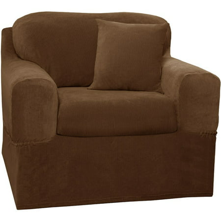 Zenna Home Narrow Stripe Patterned 2-Piece Chair Stretch Slipcover, Mocha