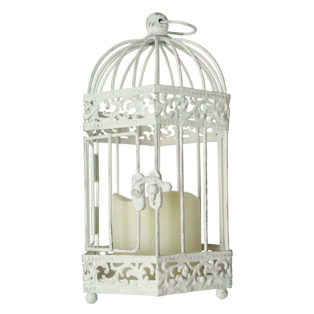 "Gerson 42018 - 4.7"" x 9.5"" Distressed White Finish Metal Birdcage Lantern Melted Edge Battery Operated LED Resin Candle Light with Timer"