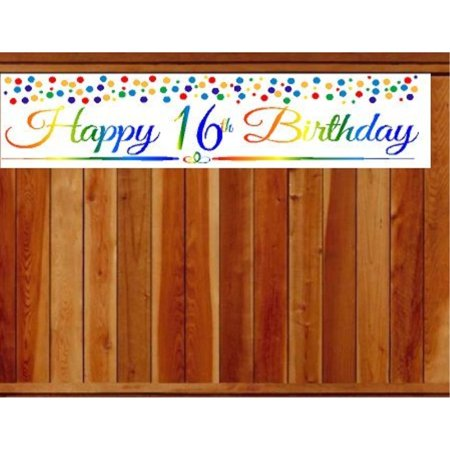 Happy 16th Birthday Banners (CakeSupplyShop Item#016RPB Happy 16th Birthday Rainbow Wall Decoration Indoor / OutDoor Party Banner (10 x)