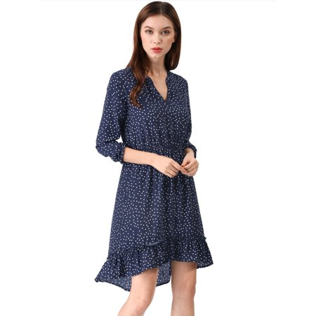 5411505d0b Unique Bargains - Women s Retro V-Neck Dotted Ruffle High Low Dress Blue M (US  10) - Walmart.com