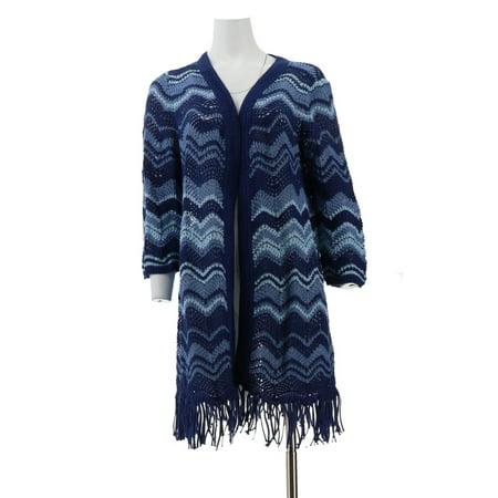 Isaac Mizrahi TRUE DENIM Chevron Knit Cardigan A306374