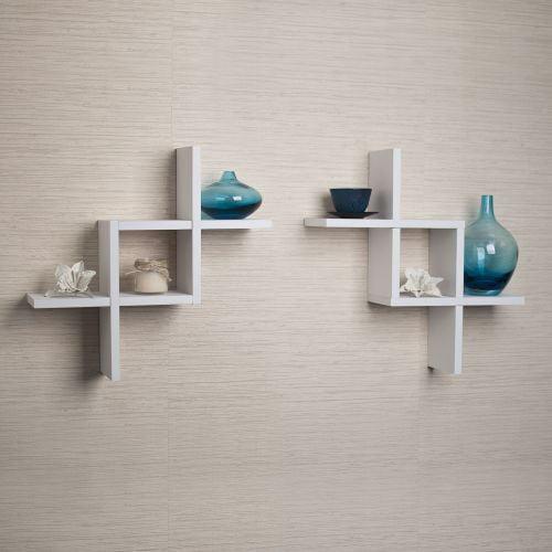 "Danya B FF2513 17"" Tall Floating Wall Shelves - Set of 2"