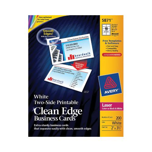 Avery 5871 Labels - Laser Clean Edge Business Cards White Matte 10 / Sheet (20 Sheets / Pkg)