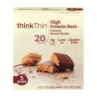 thinkThin Creamy Peanut Butter High Protein Bars, 2.1 Oz., 5 Count
