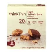 thinkThin High Protein Bar, Creamy Peanut Butter, 20g Protein, 5 Ct