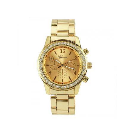 Hamilton Crystal Wrist Watch (Women Round Bracelet Crystal Analog Quartz Wrist Watch Stainless Steel Bracelet )