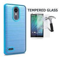 LG Rebel 4 Case,  AT&T Prepaid LG Phoenix 4 Case, phones Case for Straight Talk LG Rebel 4 Prepaid Smartphones, Dual Layer Chrome Edge TPU Cover and Brushed Style Case (Blue + Tempered Glass)