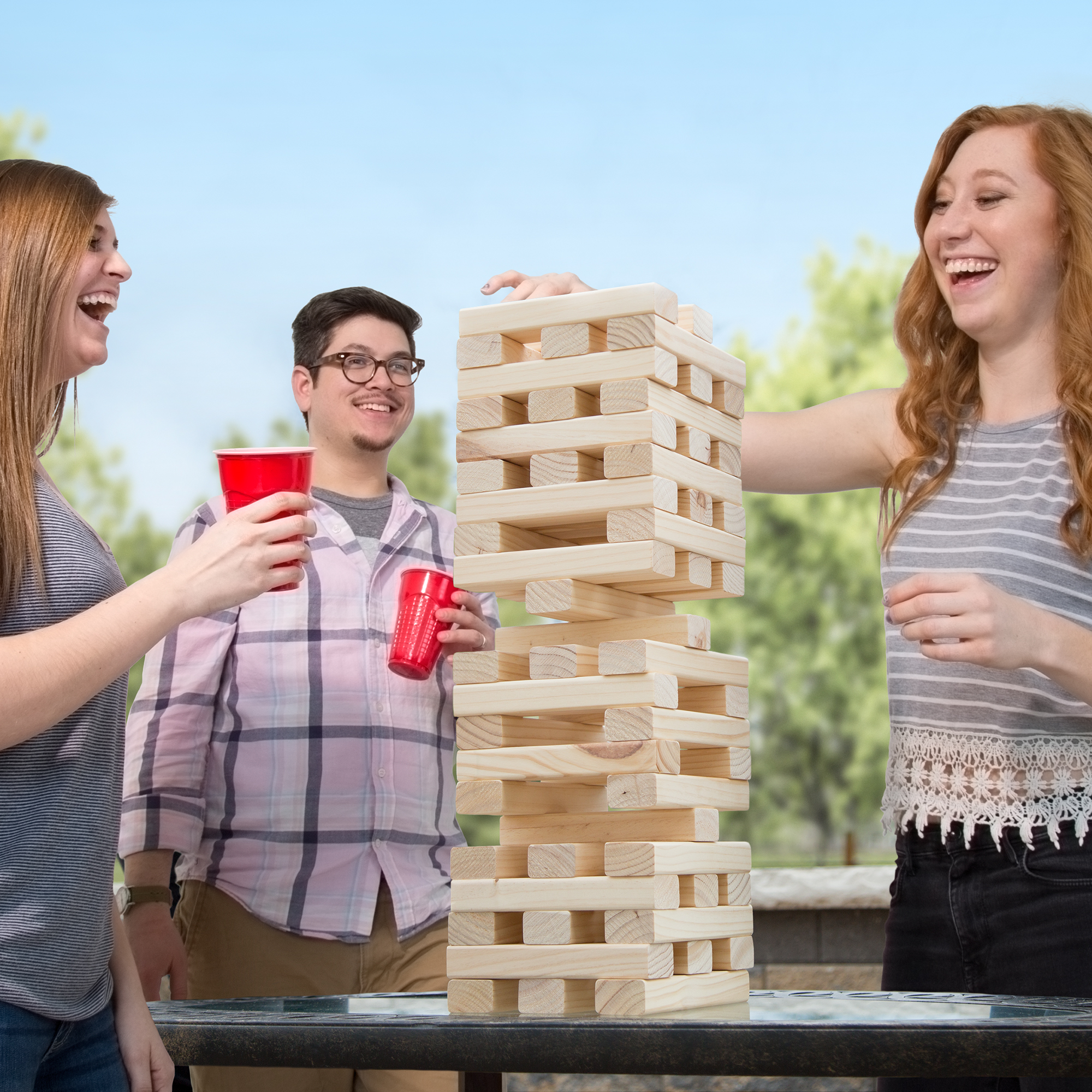 Giant Wooden Blocks Tower Stacking Game by Hey! Play!