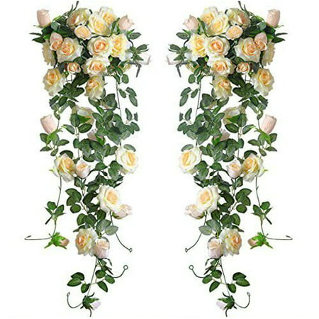 - Outgeek 7.5ft Flower Vines 16 Heads Artificial Vines Plants Romantic Rose Flowers Wedding Decor Vine Flower Garland for Home Garden Wedding Party Decor