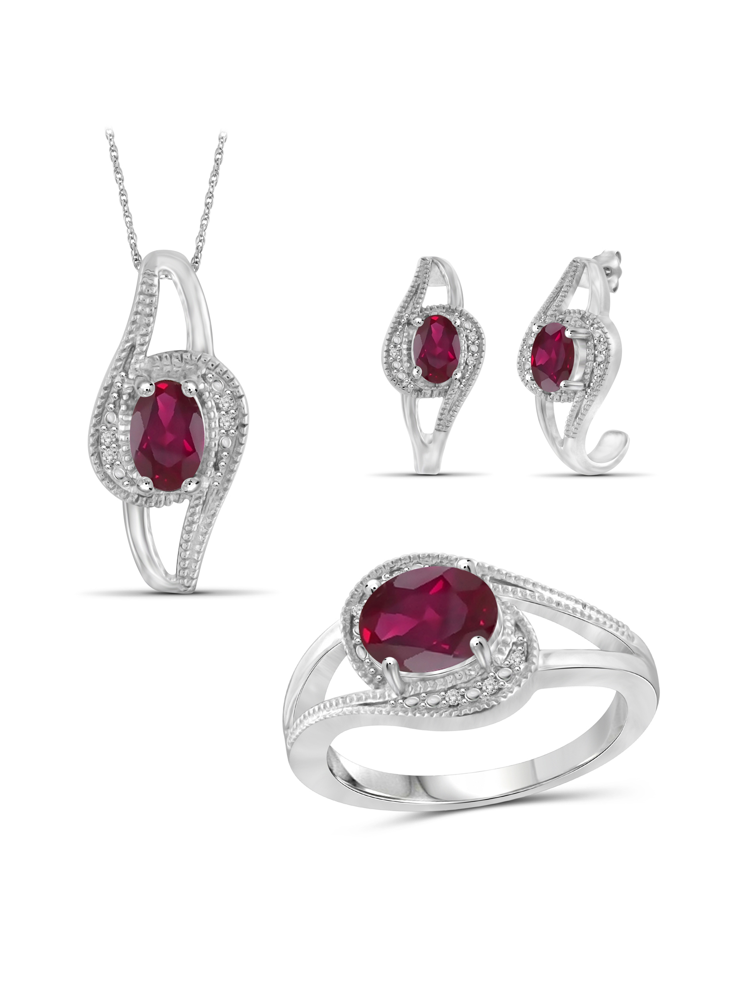 JewelersClub 3 1 3 Carat T.G.W. Ruby And White Diamond Accent Sterling Silver 3-Piece Jewelry set by JewelersClub