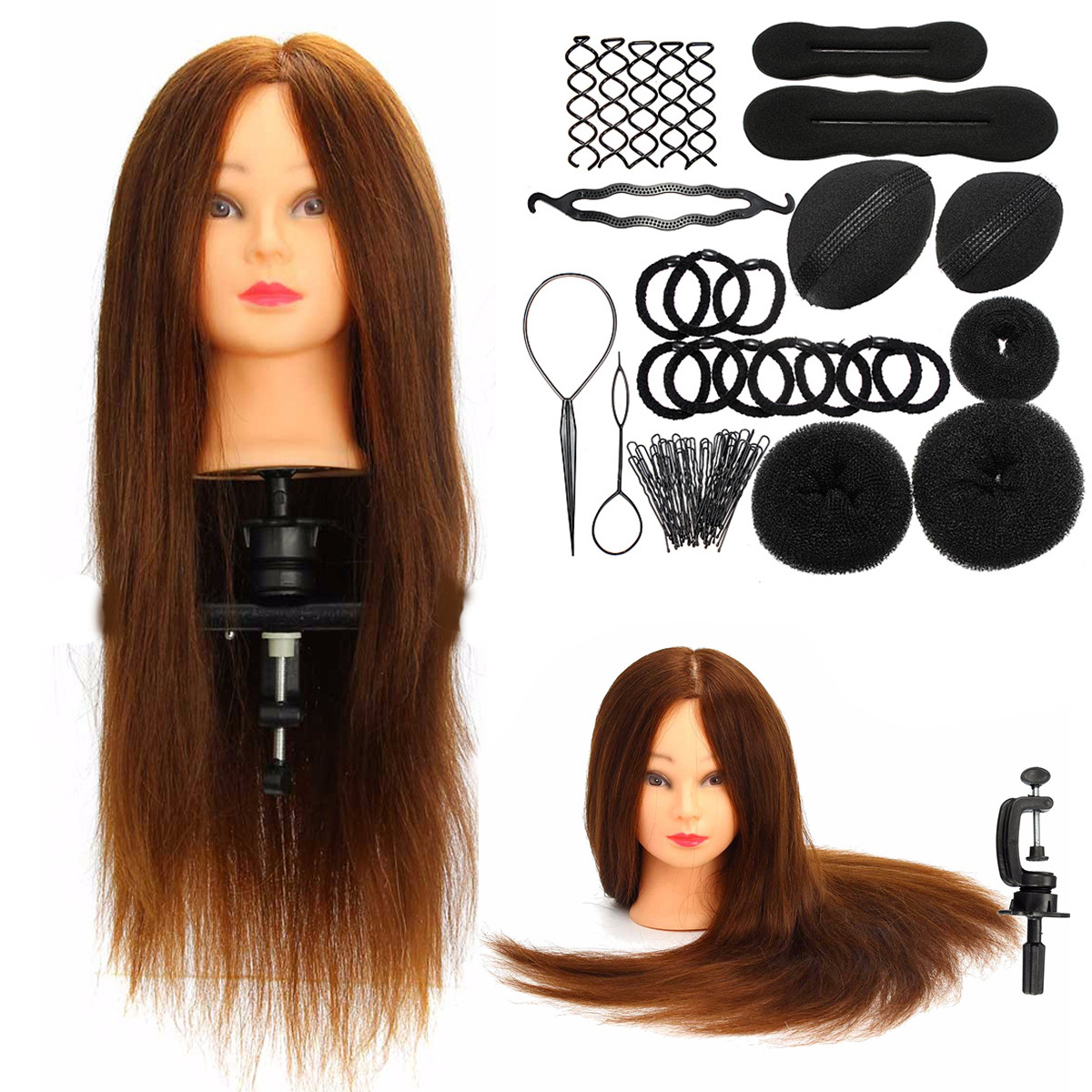 "24"" 100% Rea Hair Salon Hairdressing  Mannequin Practice Training Head +Braid Set+ Clamp"